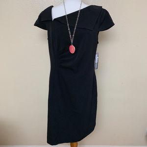 Tahari Asymmetrical Neck Sheath Dress 14 Black